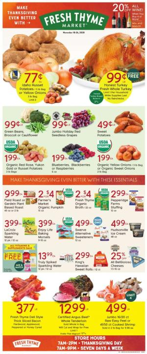 fresh thyme ad thanksgiving nov 18 2020