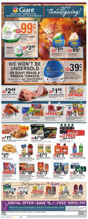 giant weekly ad thanksgiving nov 20 2020