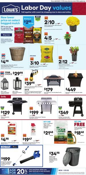lowes weekly ad aug 26 2021