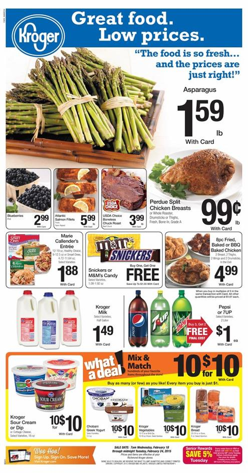 Kroger Weekly Ad Fresh Food Deals February 2015