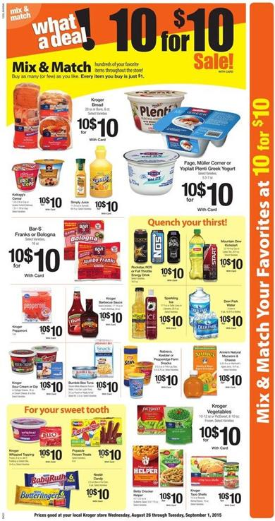 Kroger Weekly Ad Mix And Match Aug 28 2015