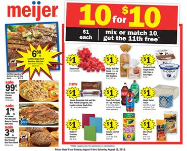 Meijer Weekly Ad Aug 9 - Aug 15 2015 Food