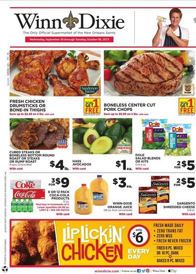 Winn Dixie Weekly Ad Products Sep 30 - Oct 6 2015