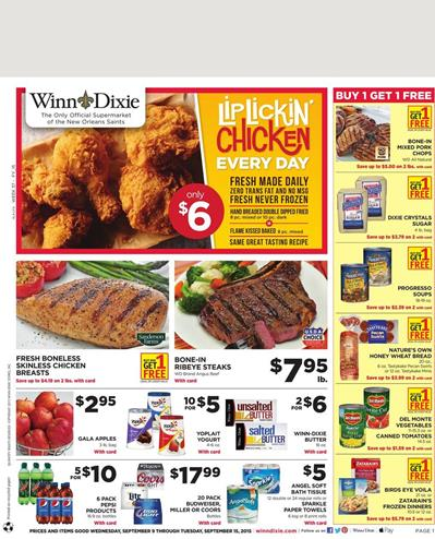 Winn Dixie Weekly Ad Special Food Prices Sep 9 2015