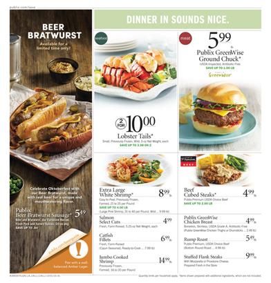 Publix Dinner Ideas and Grocery Shop October 2015