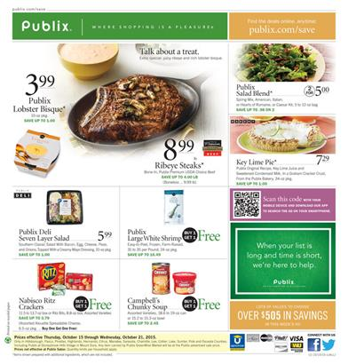 Publix Weekly Ad Products Oct 15 - Oct 20 2015