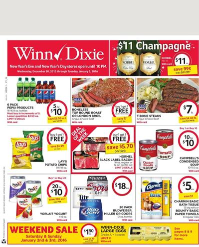 Winn Dixie Ad Jan 1 2016 Deals