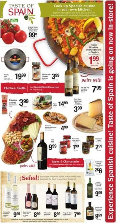 Kroger Ad Spanish Cuisine and Coupons