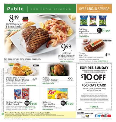 Publix Weekly Ad Aug 11 - 17 2016