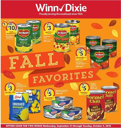 Winn Dixie Weekly Ad September 21 - Oct 4 2016