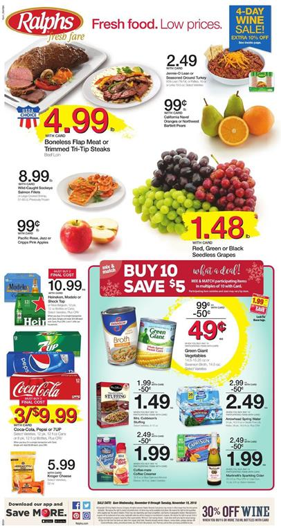 Ralphs Weekly Ad Nov 9 - 15 2016 Buy 10 Save $5 Deals