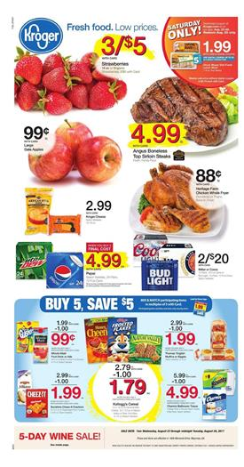 Kroger Weekly Ad Deals August 23 - 29 2017