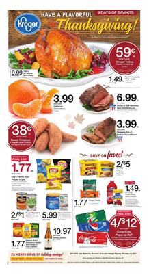 Kroger Weekly Ad Thanksgiving Nov 15 - 23, 2017