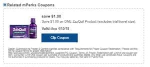 ZzzQuil or Unisom mPerk Coupon
