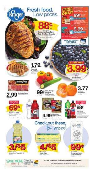 Kroger Weekly Ad Deals Aug 1 7 2018