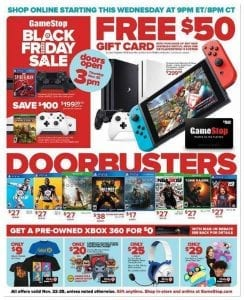 Game Stop Black Friday Ad 2018