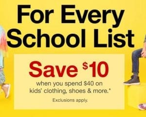 Target back to scool sale Save 10 Wy spend 40