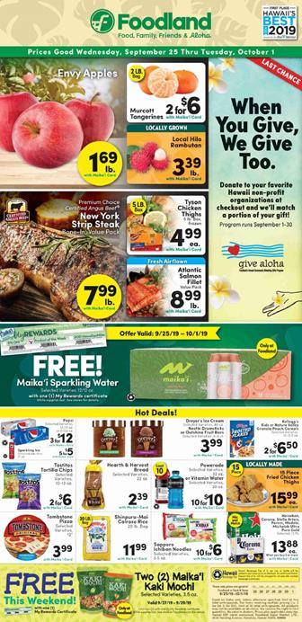 Foodland Ad Deals Sep 25 Oct 1 2019