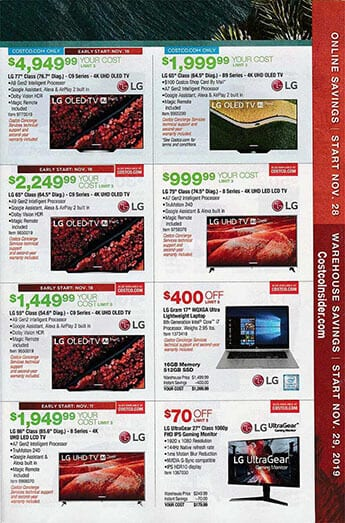 Costco Black Friday Ad Deals Nov 28 and Nov 22 Dec 2 2019