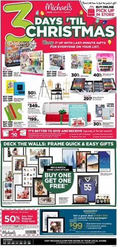 Michaels Weekly Ad Christmas Products Dec 22 28 2019