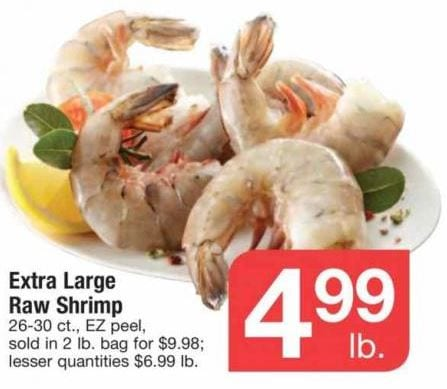 Acme Ad Extra Large Raw Shrimp Deal