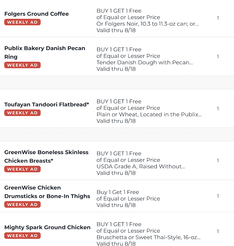 Publix BOGOs Aug 12 18 2020 3