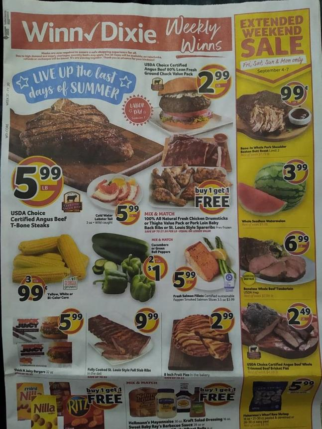 Winn Dixie Weekly Ad Preview Sep 2 8 2020