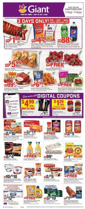Giant Weekly Ad Sale Sep 25 Oct 1 2020