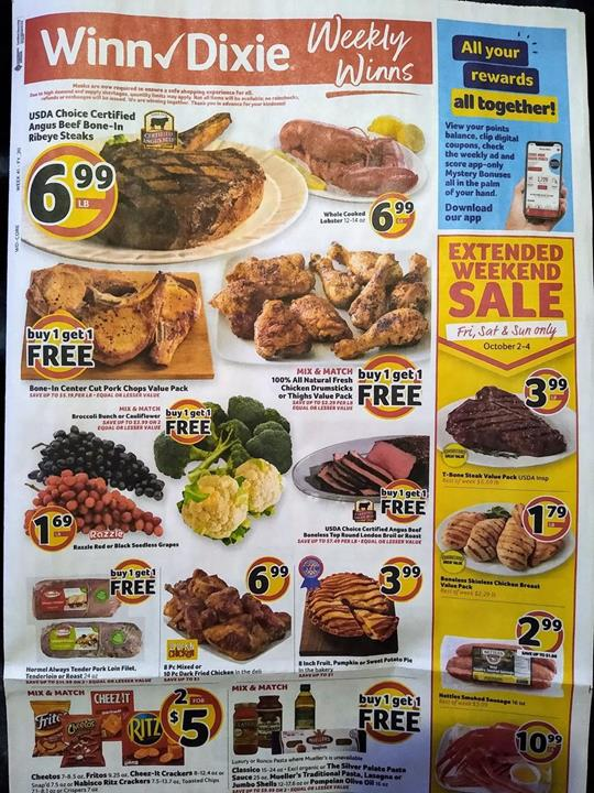 Winn Dixie Weekly Ad Preview Sep 30 - Oct 6, 2020