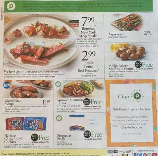 Publix Weekly Ad Preview Oct 7 13 2020
