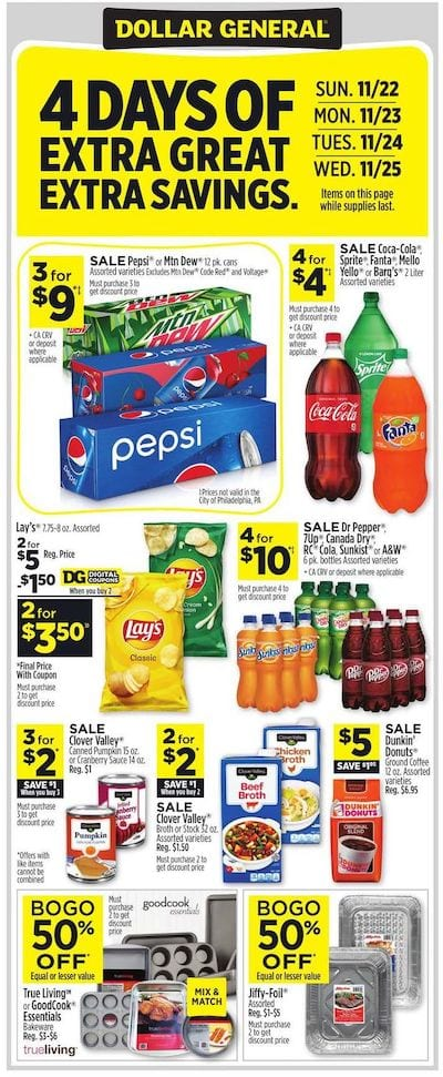 Dollar General Ad Preview Nov 22 28 2020